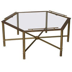 Bronze Hexagonal Glass Top Coffee Table by Mastercraft