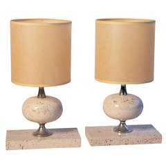 1970s French Travertine Table Lamps