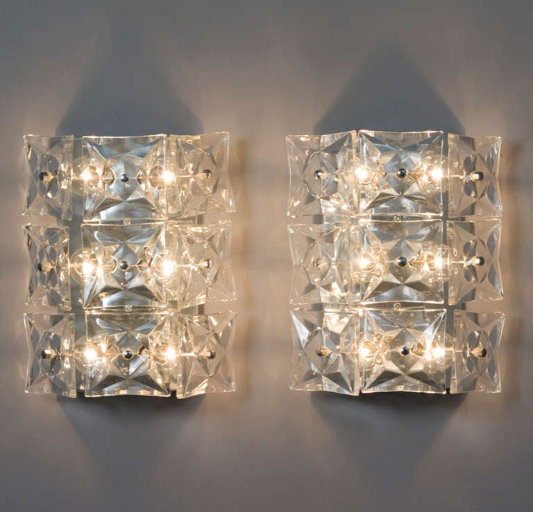 Wall Sconces Crystal : Faceted Crystal Wall Sconces at 1stdibs