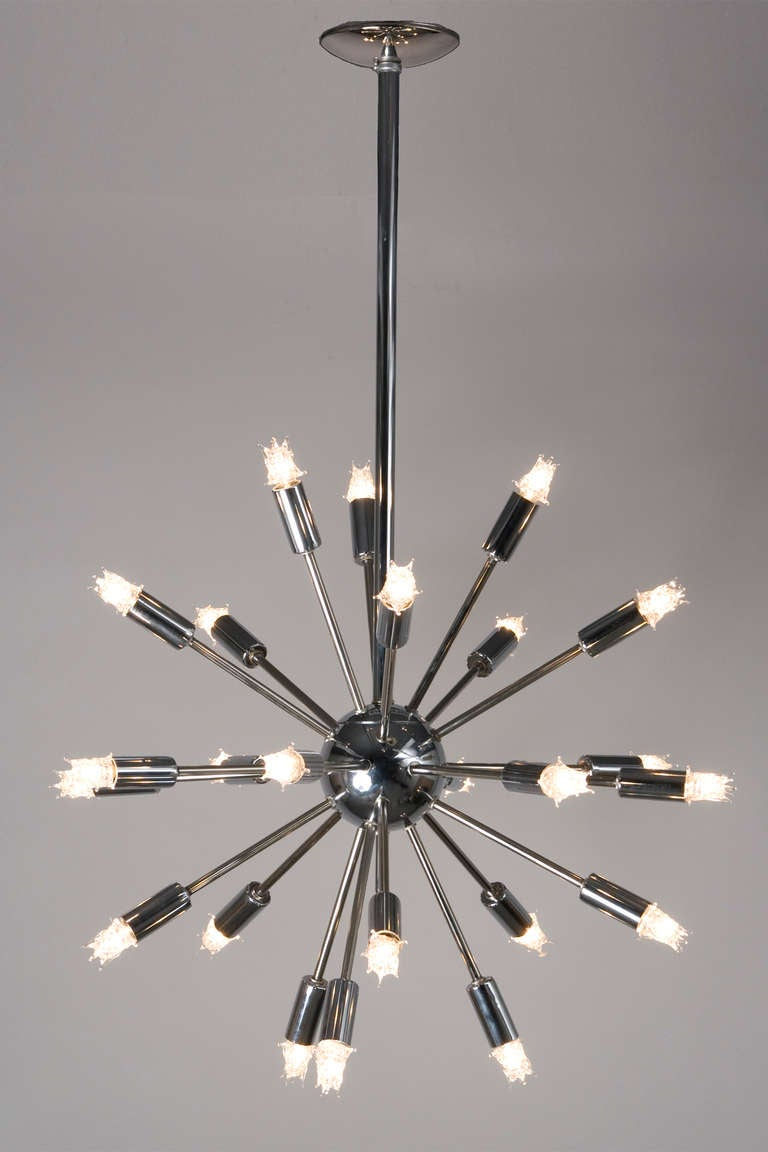 twenty five arm chrome sputnik chandelier at 1stdibs