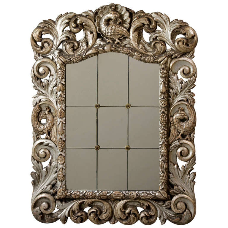 silvered carved wood frame mirror at 1stdibs