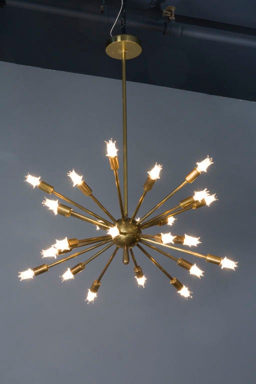 "Brass 24 Arm ""Sputnik"" Chandelier 2"
