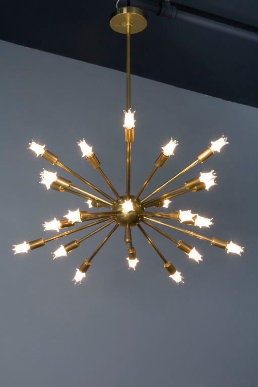 "Brass 24 Arm ""Sputnik"" Chandelier 3"
