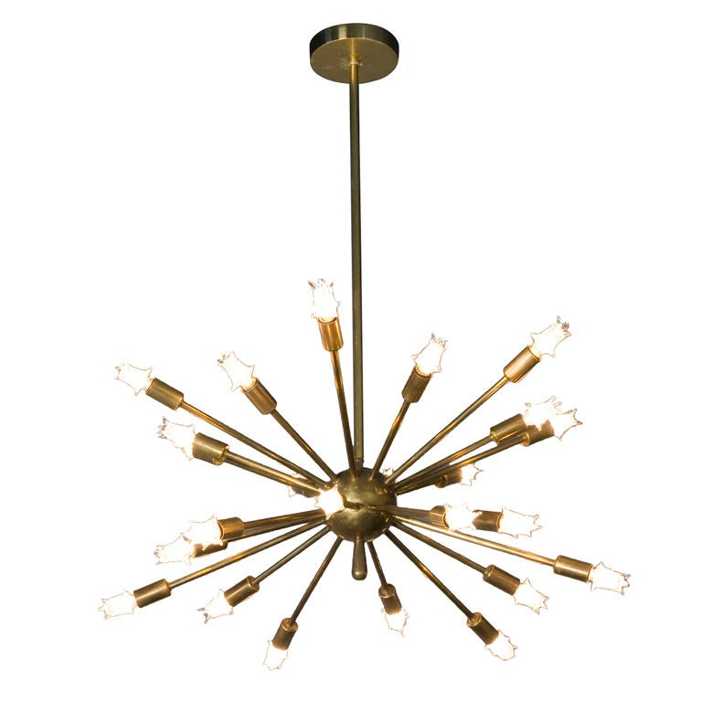 "Brass 24 Arm ""Sputnik"" Chandelier 1"