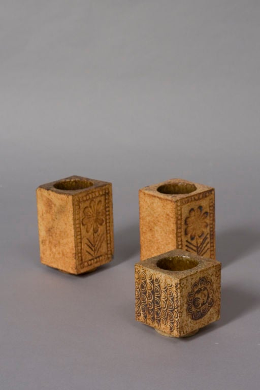 set of three sun and flower ceramic petit vases by roger capron at 1stdibs. Black Bedroom Furniture Sets. Home Design Ideas