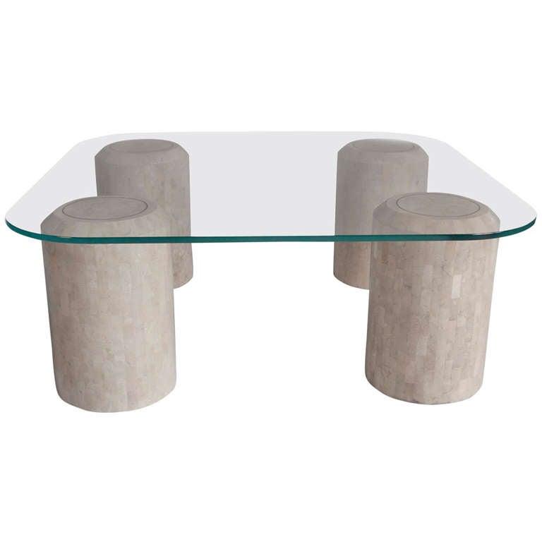 Bone Veneer And Glass Coffee Table At 1stdibs