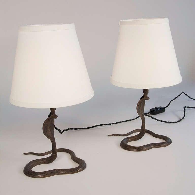 Cobra Lamps Pair At 1stdibs