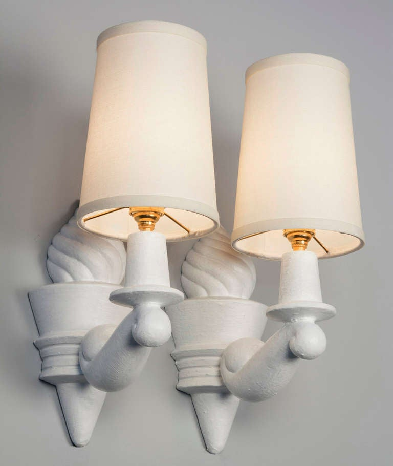 Plaster Sconces by Arlus, Pair at 1stdibs