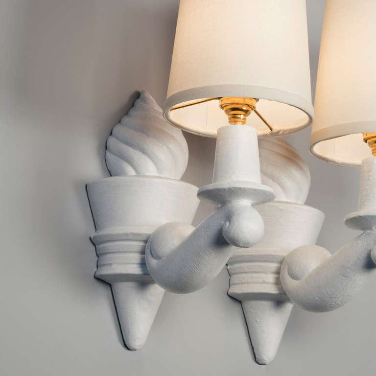 Wall Sconces Plaster : Plaster Sconces by Arlus, Pair at 1stdibs