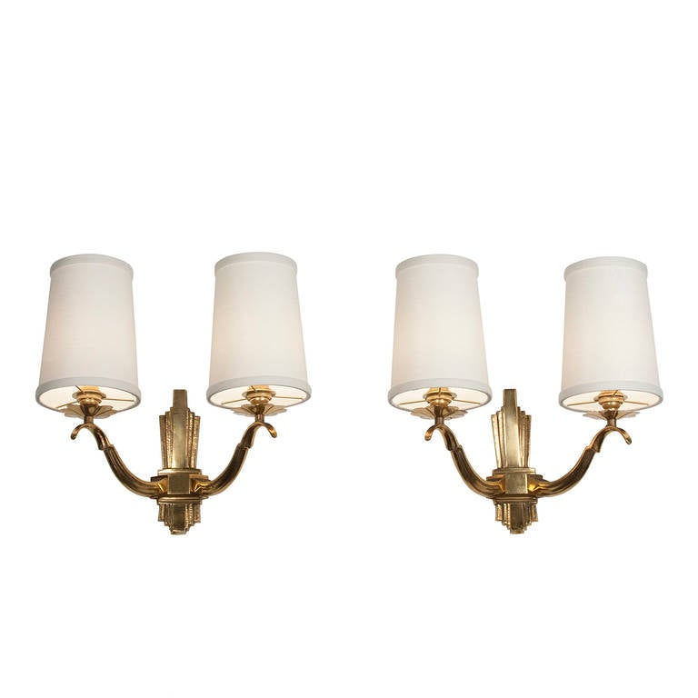 Elegant Pair of Two-Arm Bronze Sconces at 1stdibs