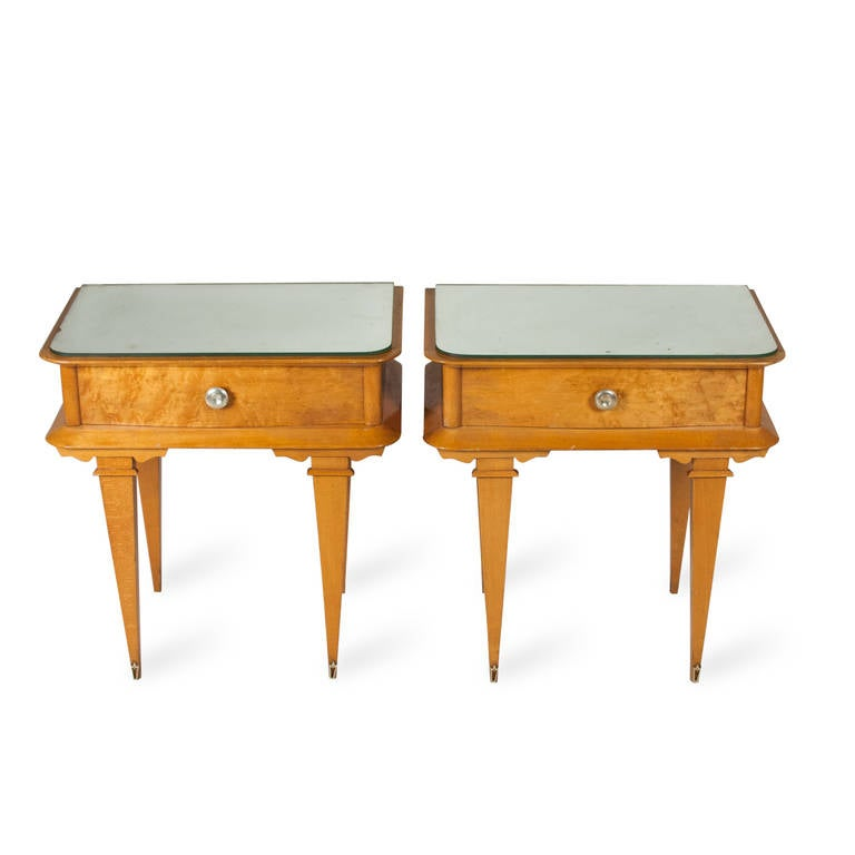 Pair of sycamore end tables at 1stdibs