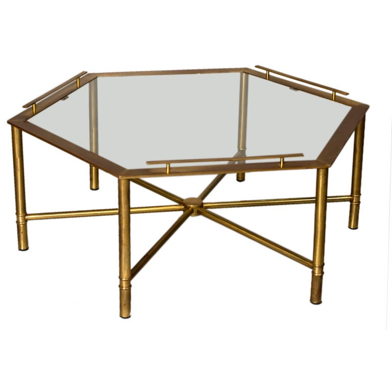 Bronze Hexagonal Glass Top Coffee Table By Mastercraft At 1stdibs