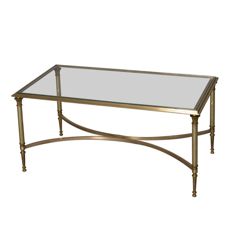 Bronze frame glass top coffee table by maison charles at 1stdibs Coffee tables glass top