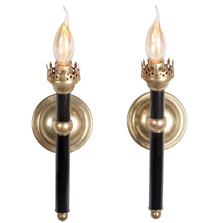 French Torch Sconces, Pair at 1stdibs