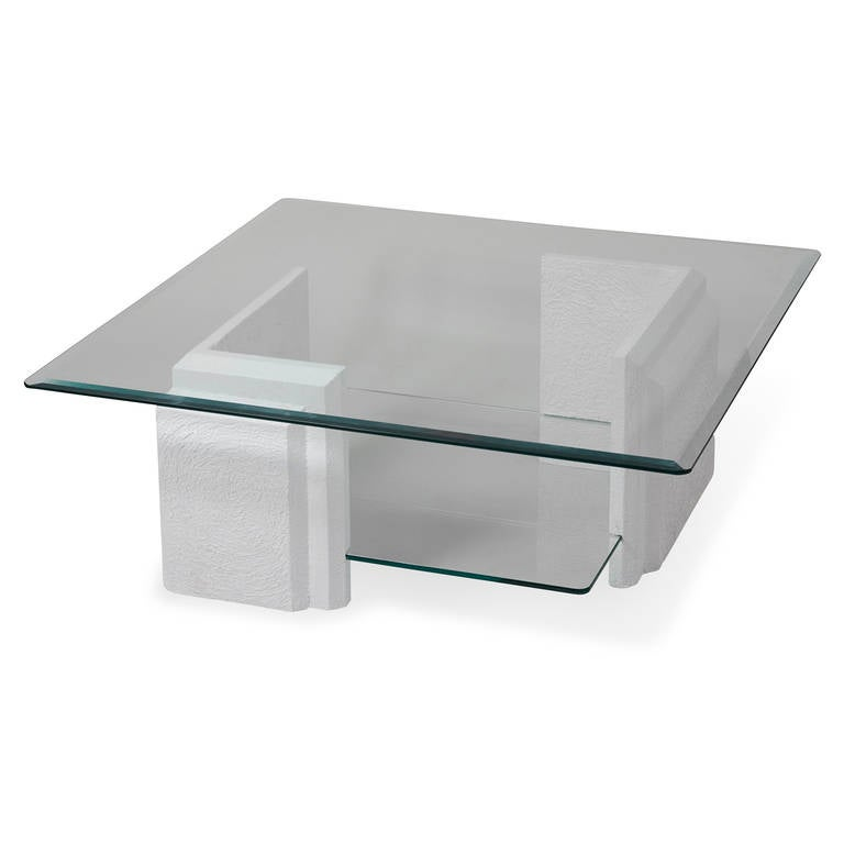 Stone And Glass Coffee Table At 1stdibs