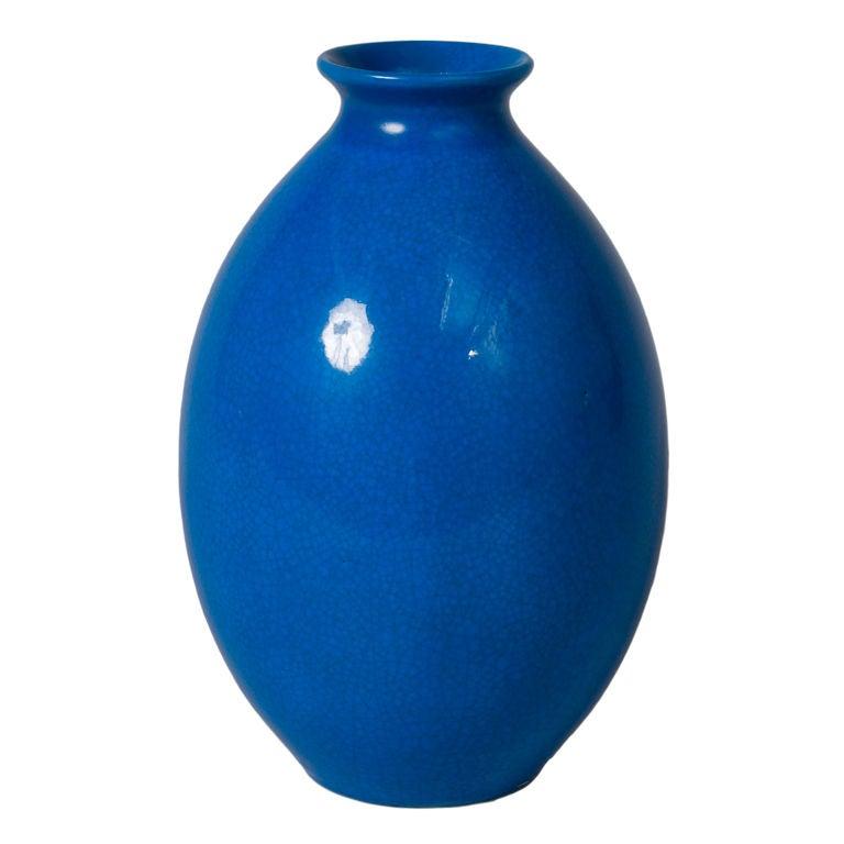 tall blue crackle glaze ceramic vase by boch la louviere