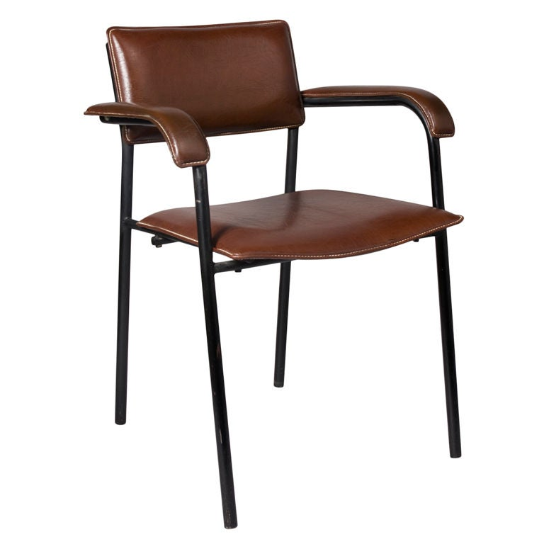Burgundy Leather Upholstered Desk Chair By Jacques Adnet