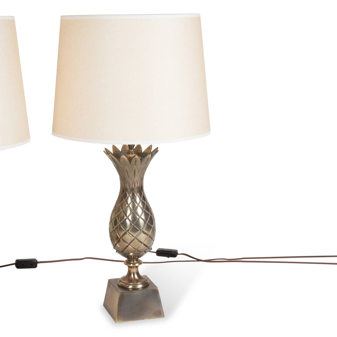 pair of brass pineapple table lamps american 1960s for. Black Bedroom Furniture Sets. Home Design Ideas