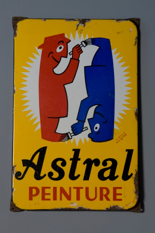 Astral Peinture Enameled Metal Sign After Savignac at 1stdibs