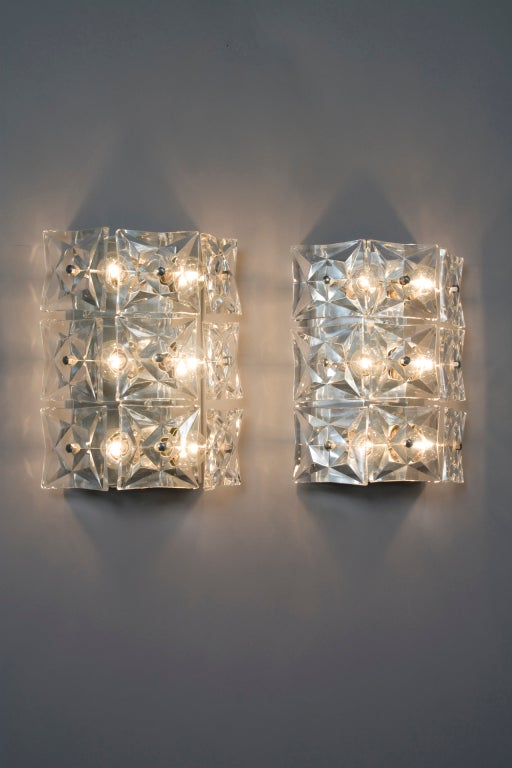 Wall Sconces With Crystals : Pair of Faceted Crystal Wall Sconces by Kinkeldey at 1stdibs