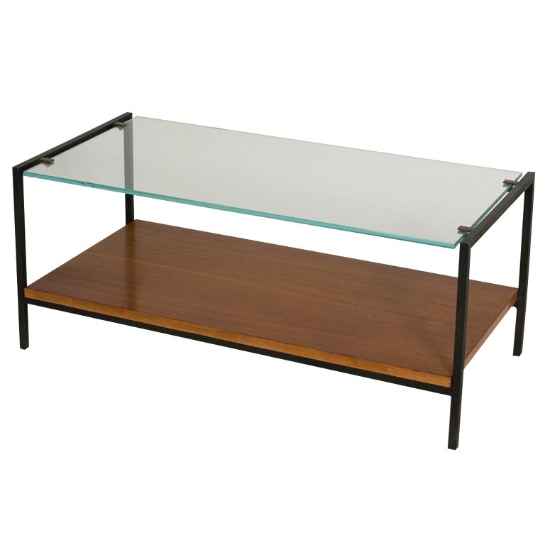 Glass Top And Rosewood Steel Frame Coffee Table By Alain Richard At 1stdibs