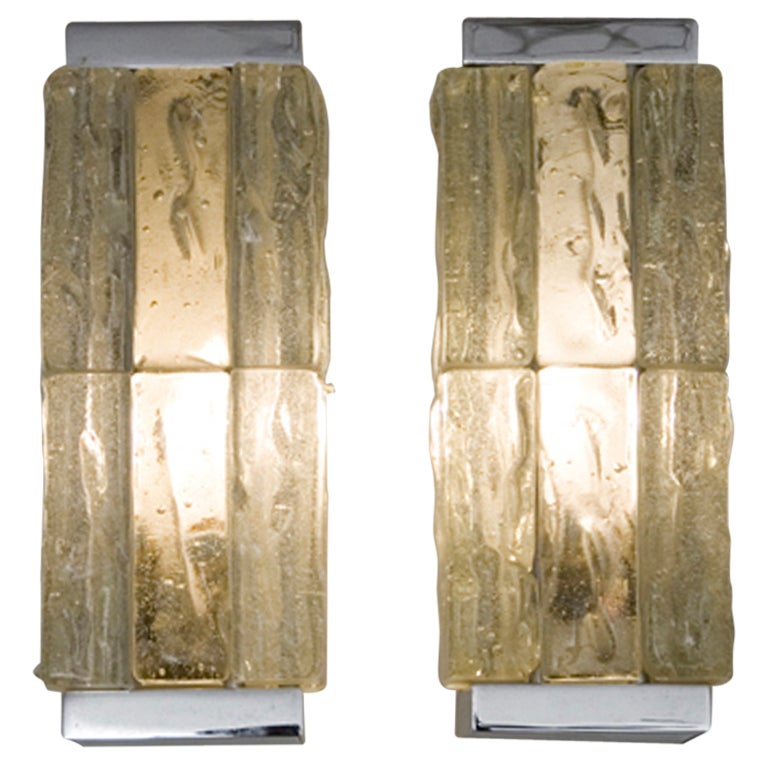Chunky Glass Block Sconces By Perzel At 1stdibs