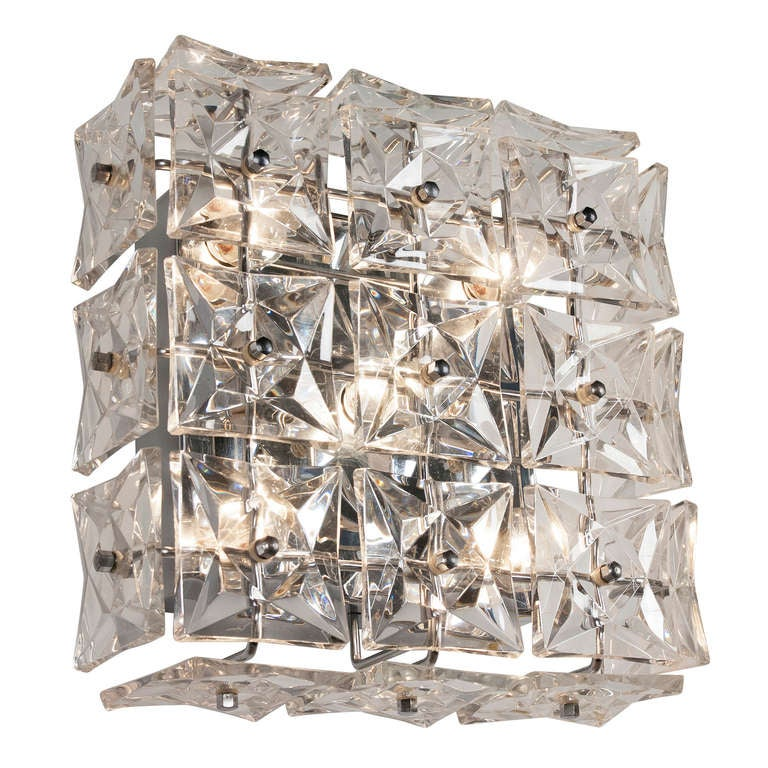 Wall Sconces With Crystals : Faceted Crystal Wall Sconces at 1stdibs