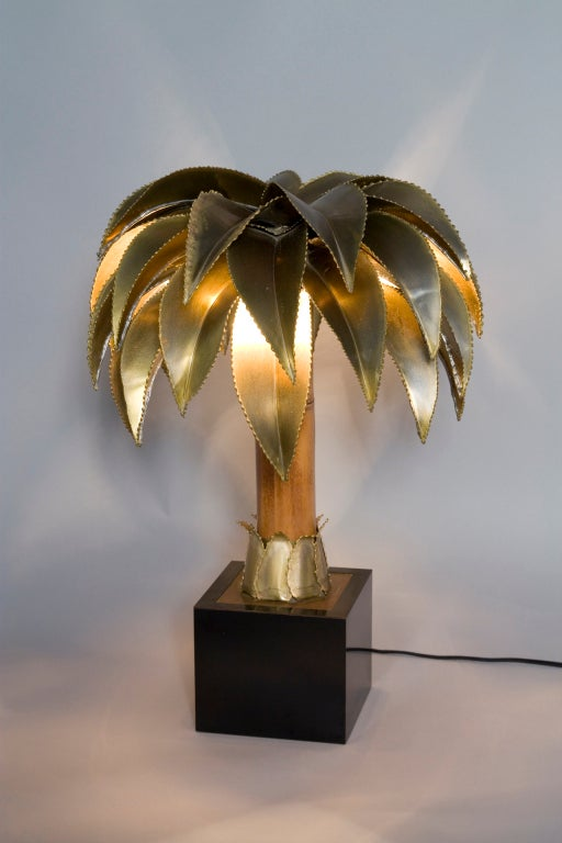 palm tree form bamboo and brass table lamp by maison jansen at 1stdibs. Black Bedroom Furniture Sets. Home Design Ideas
