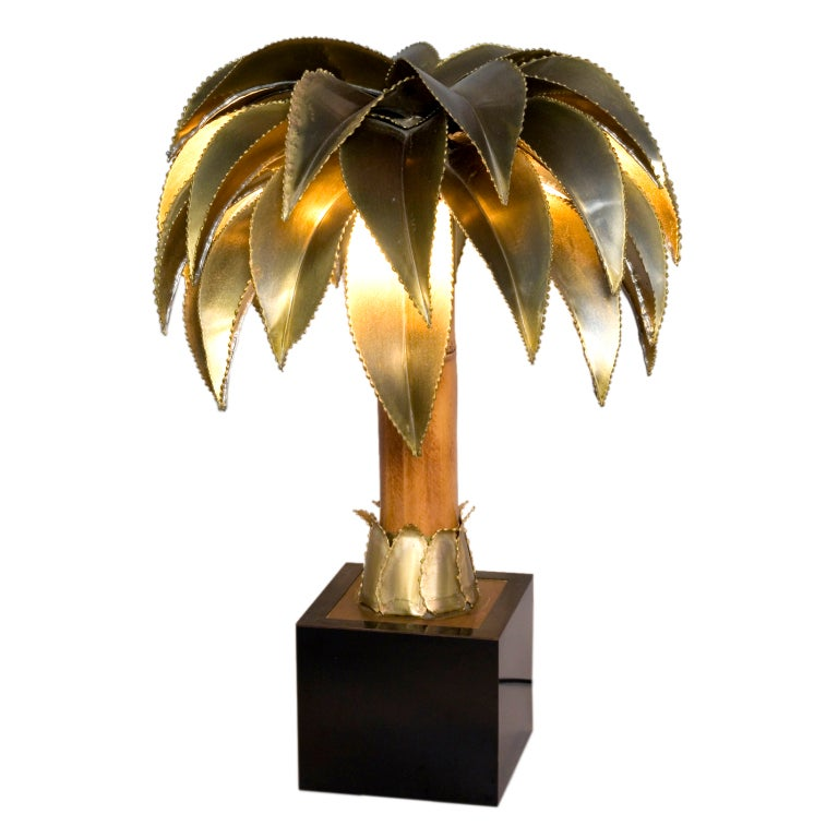 Palm Tree Form Bamboo And Brass Table Lamp By Maison