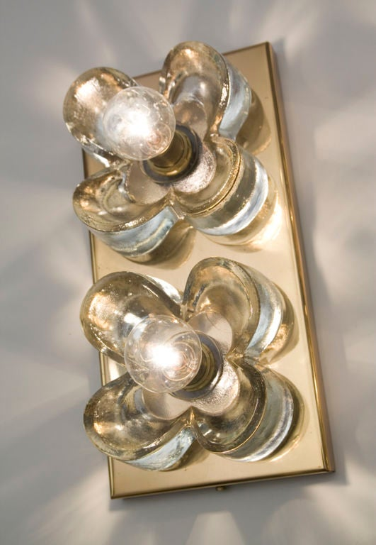 Pair of Thick Glass Flower Two Light Wall Sconces at 1stdibs