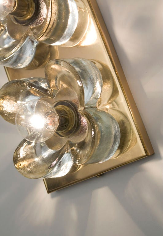 Glass Wall Sconces For Flowers : Pair of Thick Glass Flower Two Light Wall Sconces at 1stdibs