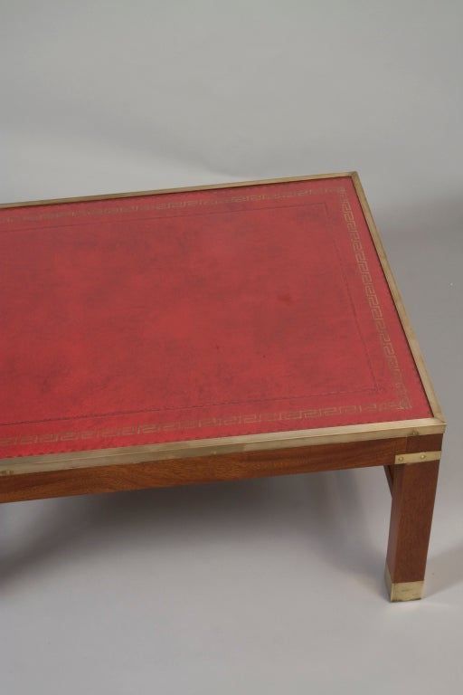 Red leather top mahogany rectangular coffee table at 1stdibs Square leather coffee table