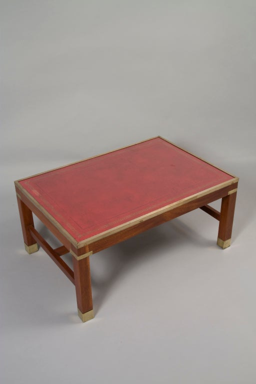 Red Leather Top Mahogany Rectangular Coffee Table At 1stdibs