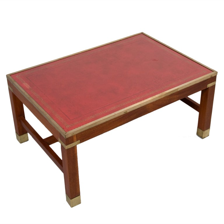 Red leather top mahogany rectangular coffee table at 1stdibs Coffee table with leather top