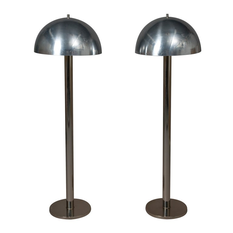 Pair of Dome Shade Floor Lamps at 1stdibs