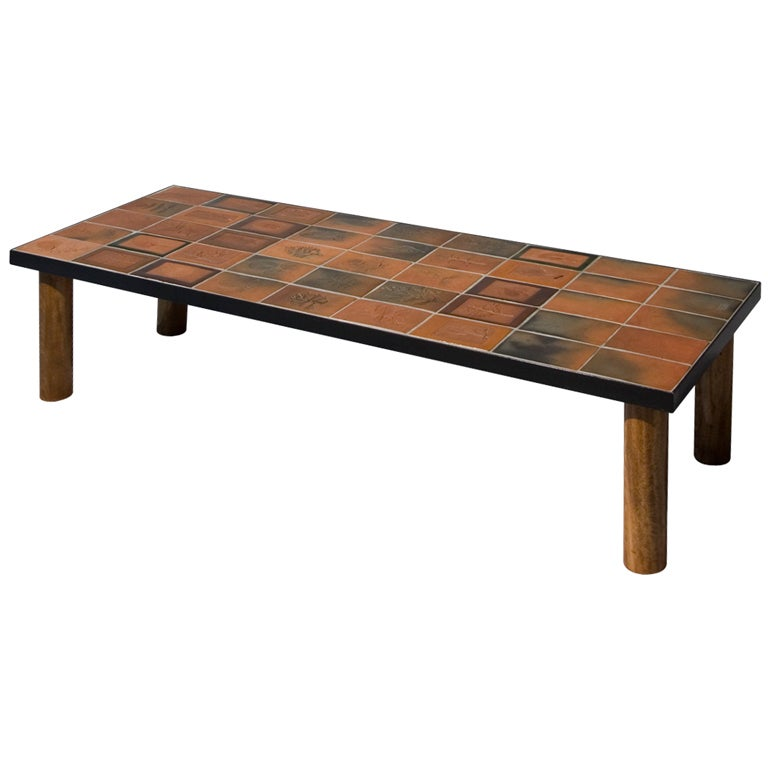 Ceramic Tile Top Table By Roger Capron At 1stdibs