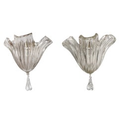 Pair of Large Clear Glass Shell Form Wall Sconces by Barovier