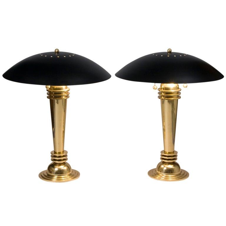 pair of brass column black shade table or desk lamps at 1stdibs. Black Bedroom Furniture Sets. Home Design Ideas