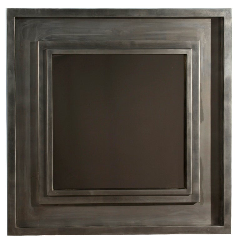 Large brushed stainless steel square frame mirror at 1stdibs for Large square mirror