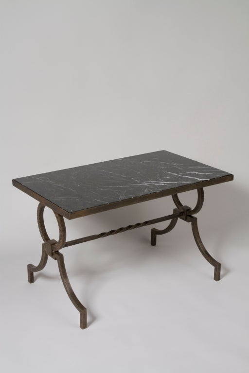 Marble top iron coffee table by poillerat at 1stdibs for Stone and iron coffee table