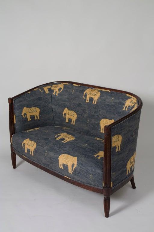 elephant print art deco settee at 1stdibs. Black Bedroom Furniture Sets. Home Design Ideas