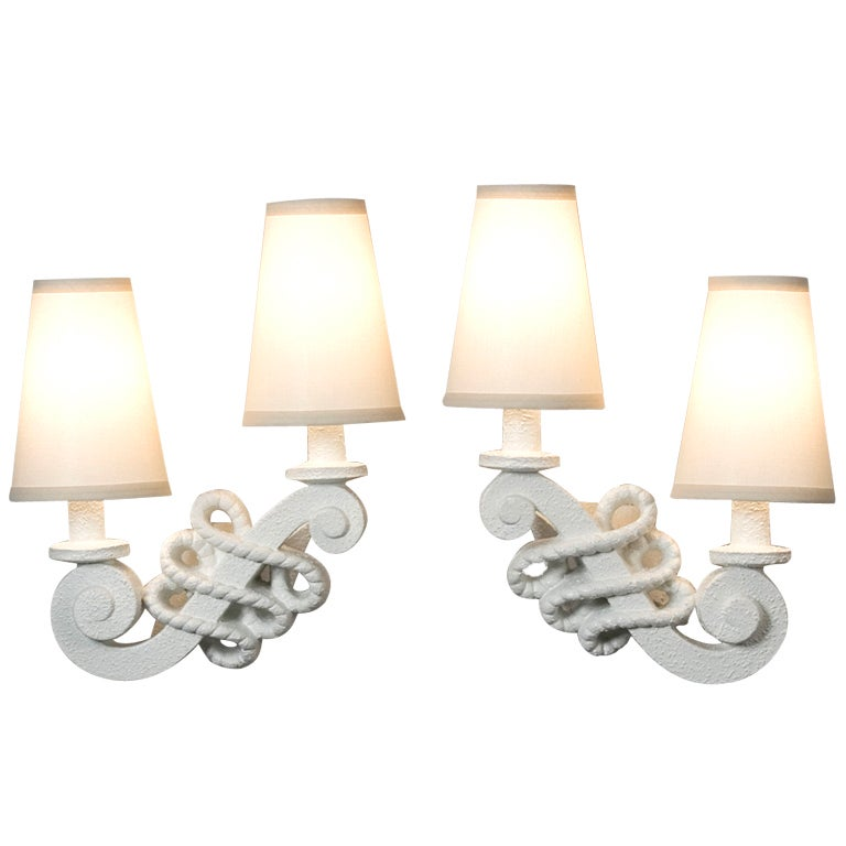 Scrolled Two Arm Plaster Sconces at 1stdibs
