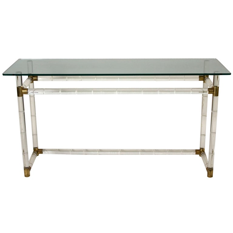 Lucite And Brass Console Table By Hollis Jones At 1stdibs