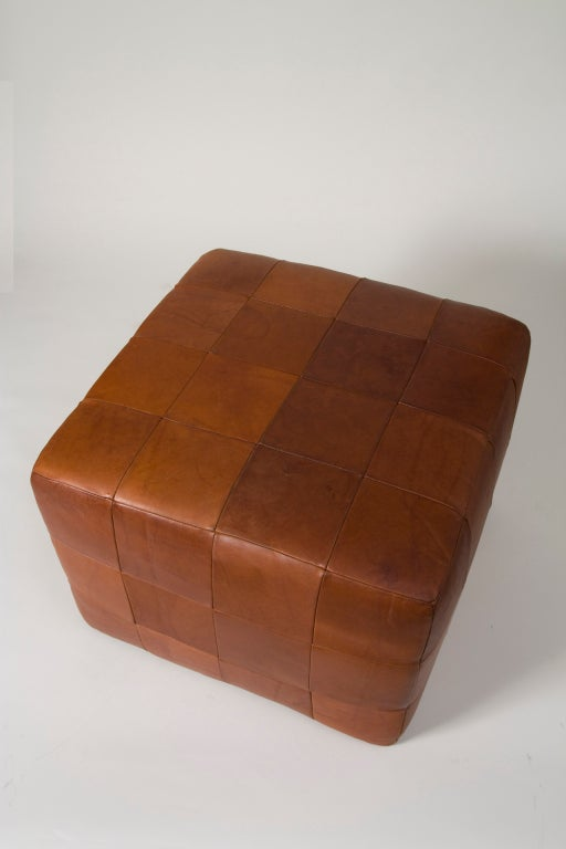 Woven Leather Ottoman At 1stdibs