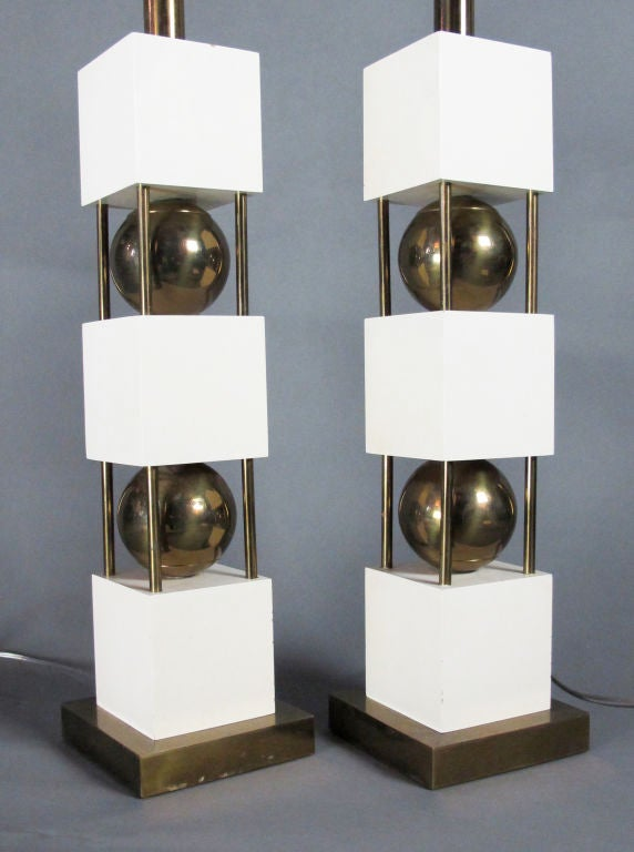 Monumental Pair of Table Lamps by Paul Hanson For Sale 4