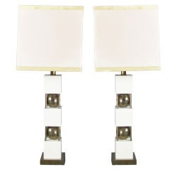 Monumental Pair of Table Lamps by Paul Hanson