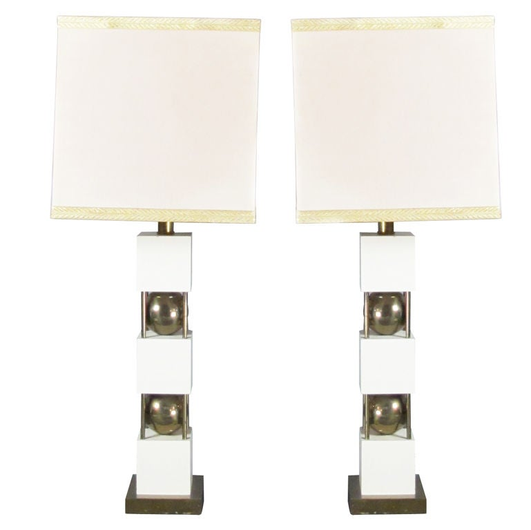 Monumental Pair of Table Lamps by Paul Hanson For Sale
