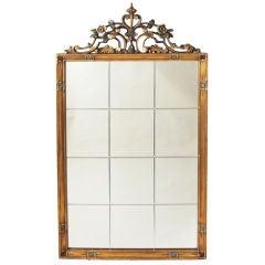 Gilt Wood Mirror in a Gothic Deco Style
