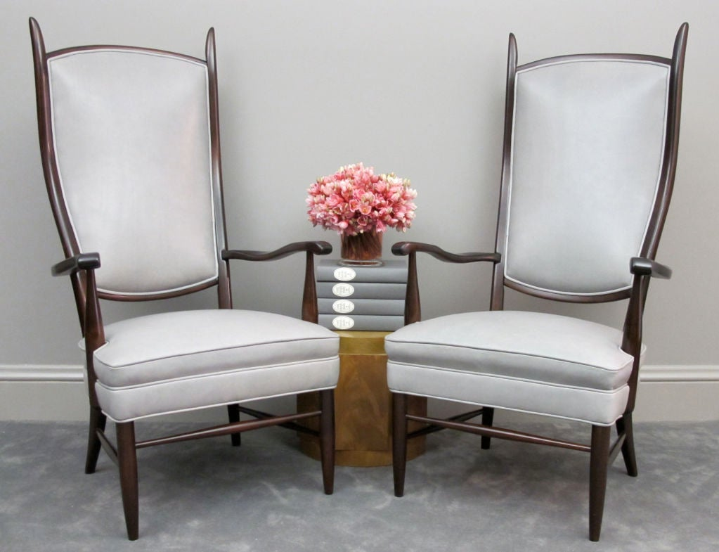 Pair of Dramatic High Back Chairs in Grey Leather 2