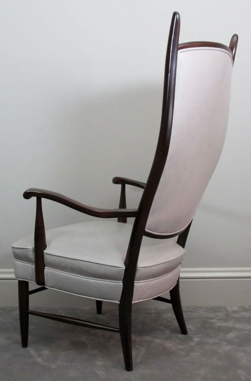 Pair of Dramatic High Back Chairs in Grey Leather 4